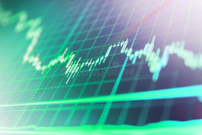 Stock diagram on the screen. Price chart bars. Stock market and other finance themes. royalty free stock photo