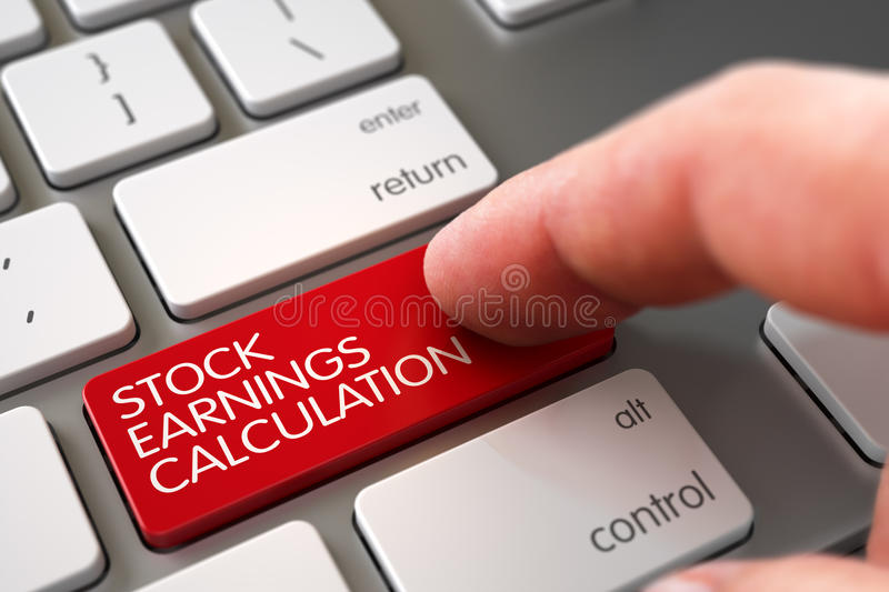 Stock Earnings Calculation - Modern Keyboard Concept. 3D Render. Stock Earnings Calculation Concept - Modern Keyboard with Red Keypad. 3D Illustration royalty free stock image