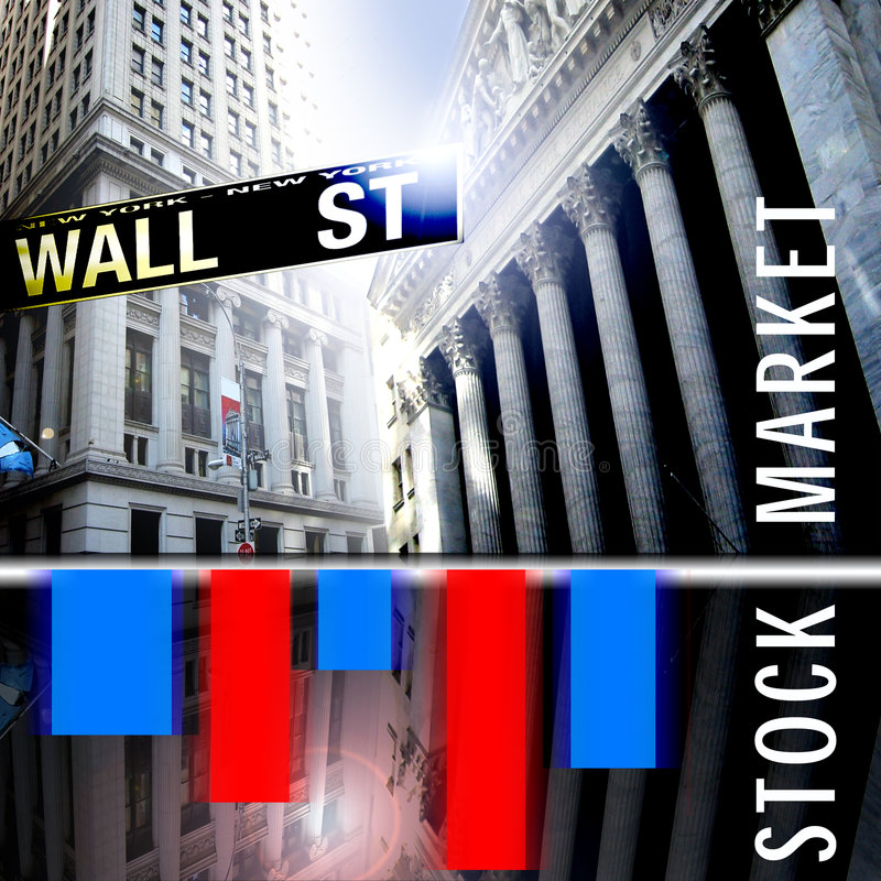 Stock Exchange. An image showing wall street with a chart or table of red and blue colours and the words stock market in white letters over the top of the