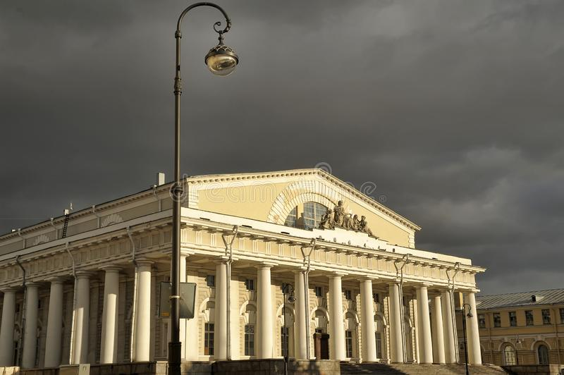 The Stock Exchange building is the central building of the architectural ensemble of the Spit stock photos