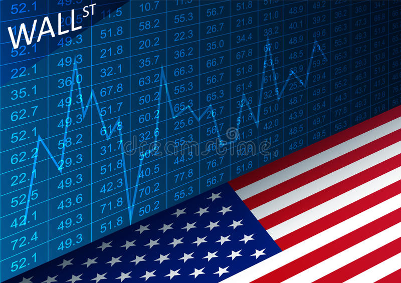 Stock exchange chart and american flag. Data analyzing in trading market on Wall Street. royalty free illustration