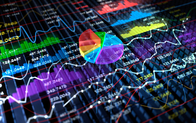 Stock Exchange 3D Graph background, royalty free illustration