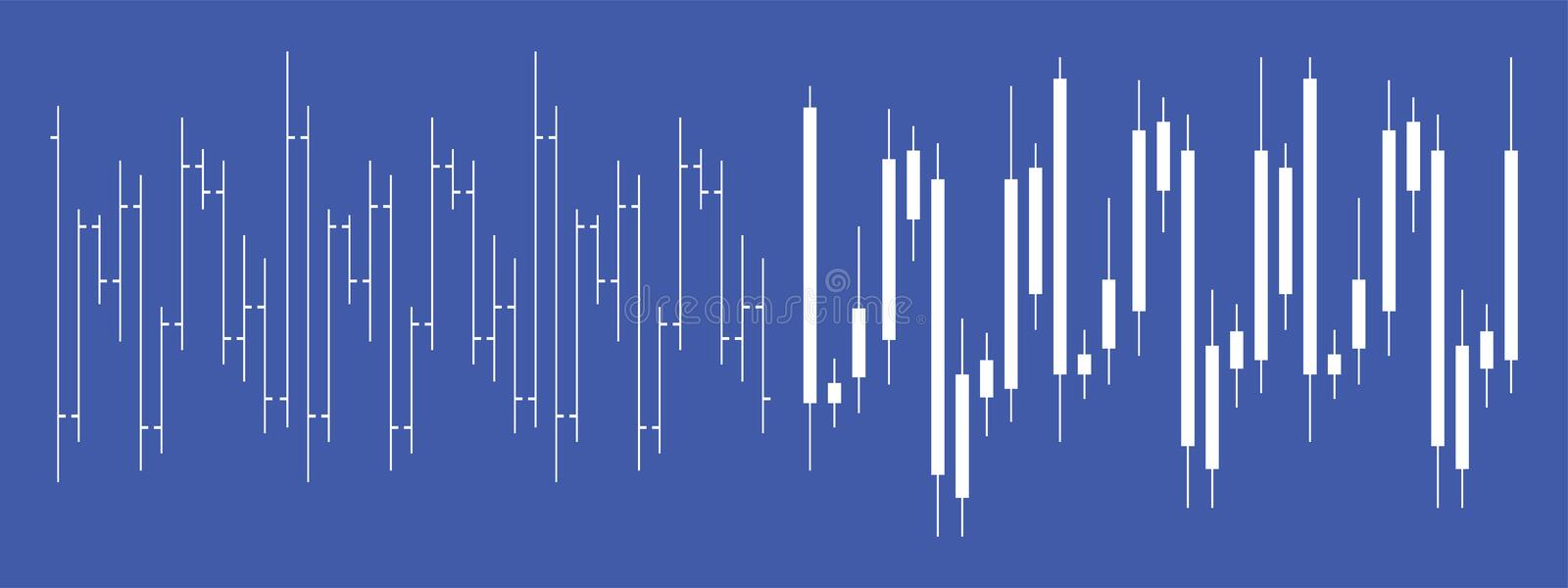 Stock exchange Forex candlestick chart royalty free illustration