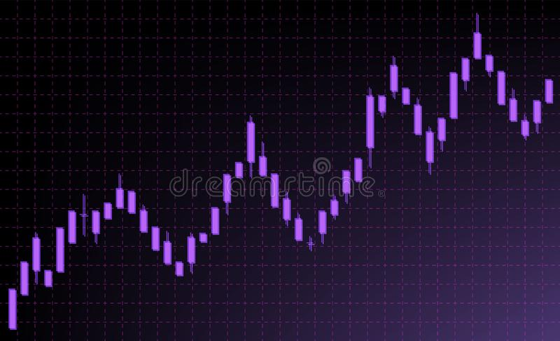 Stock exchange and forex market. Schedule of candles. Purple candles on a dark background. vector illustration