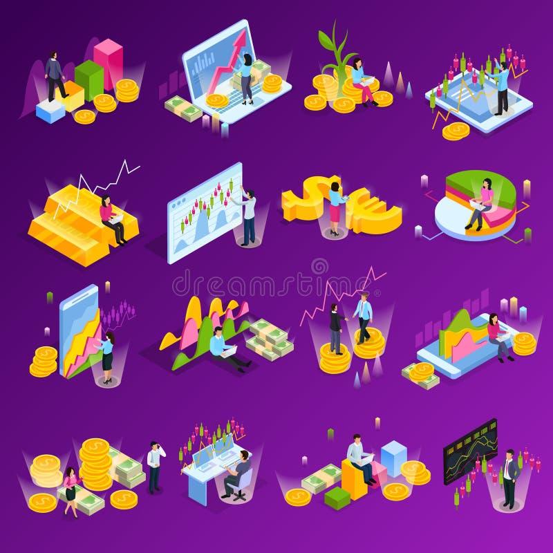 Stock Exchange Isometric Icon Set vector illustration