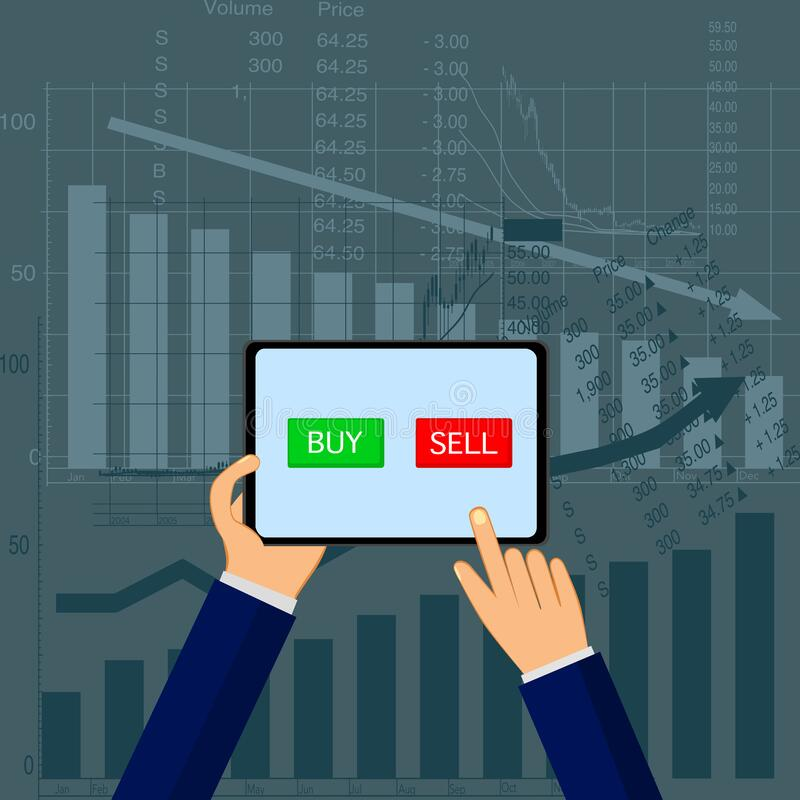 Stock exchange market ,trader analyzing index candlestick graph deciding to buy or sell. Vector royalty free illustration