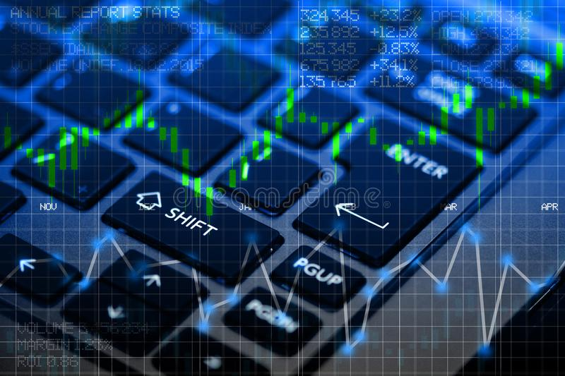 Stock exchange panel with notebook keyboard as background royalty free illustration
