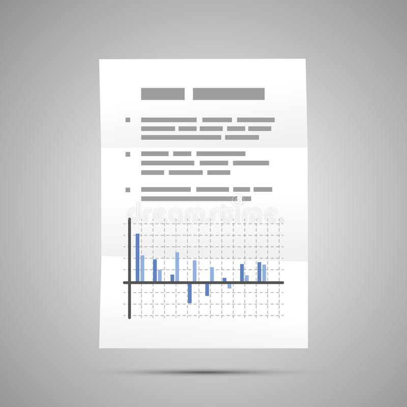 Stock exchange report with diagram, A4 size document icon with shadow. On gray stock illustration
