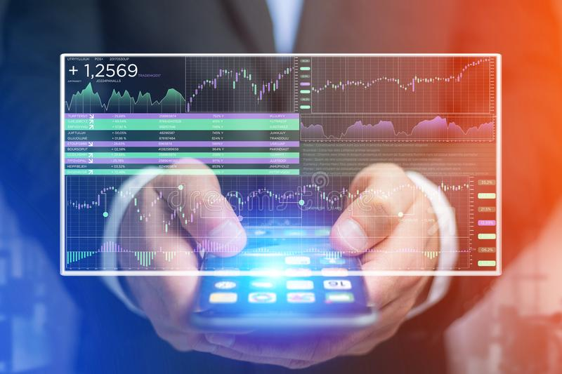 Stock exchange trading data information displayed on a futuristic interface royalty free stock photography