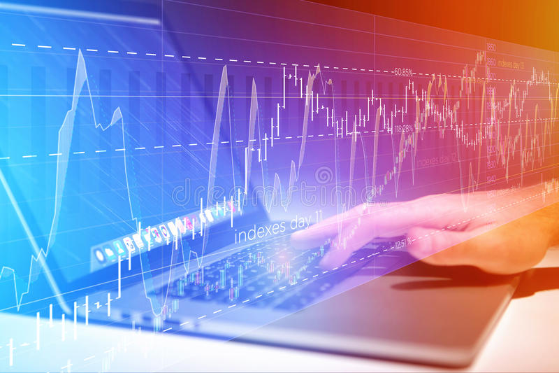 Stock exchange trading data information going out the computer o. View of a Stock exchange trading data information going out the computer of a businessman royalty free stock photos