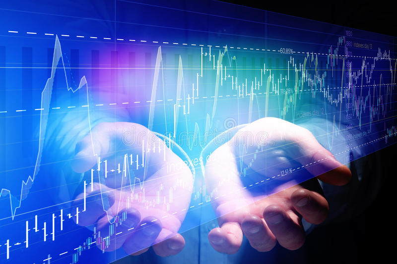 Stock exchange trading data information on a technology interface - Financial concept. View of Stock exchange trading data information on a technology interface stock image