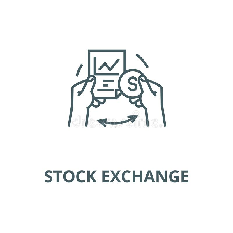 Stock exchange vector line icon, linear concept, outline sign, symbol stock illustration