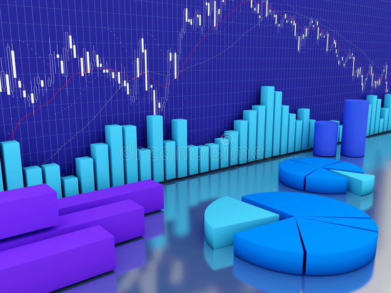 Stock finance and charts. Graphs and diagrams in front of stock market data stock image