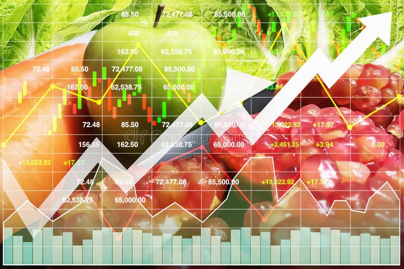 Stock financial index of investment on healthy food. Stock financial index of successful investment on healthy food such as freshness fruit and vegetable with stock photos