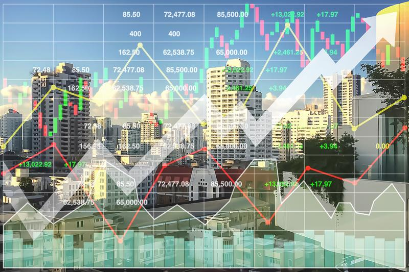 Stock financial index of successful investment. royalty free stock photography