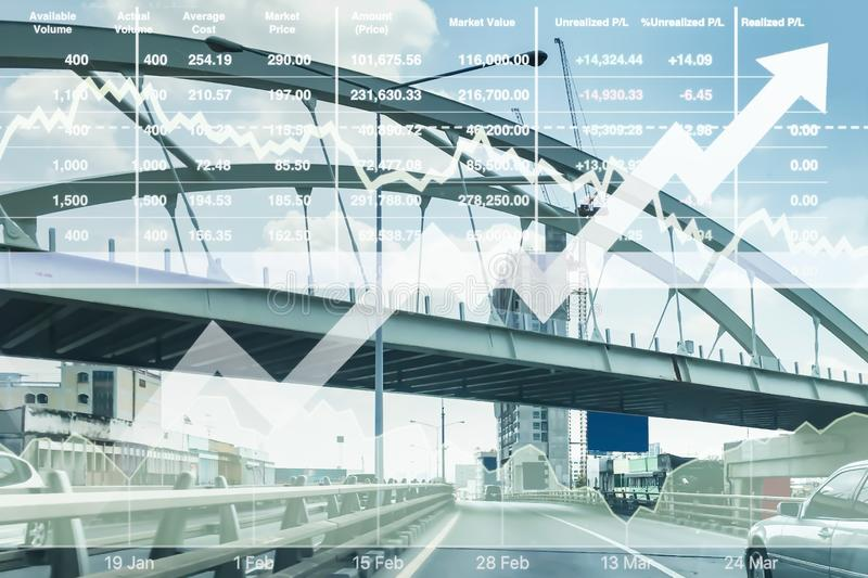 Stock financial index of successful investment on transportation business. stock photography