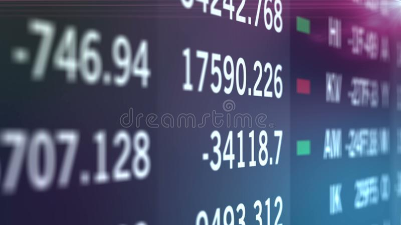 Stock financial numbers on led screen, wall of indice and market information stock illustration