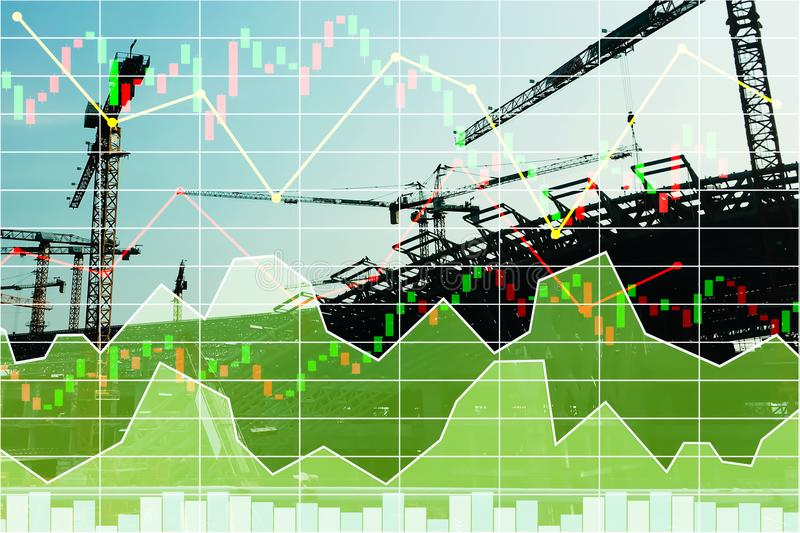 Stock financial research data for construction industrial. Stock financial research data for construction industrial investment background with graph royalty free stock images