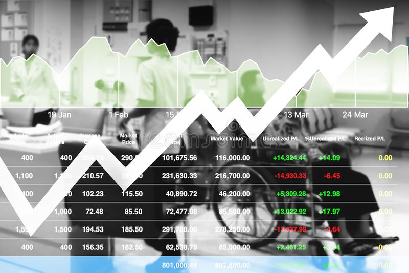 Stock financial research data for healthcare and hospital. Stock financial research data for healthcare and hospital industry business investment background royalty free stock photos
