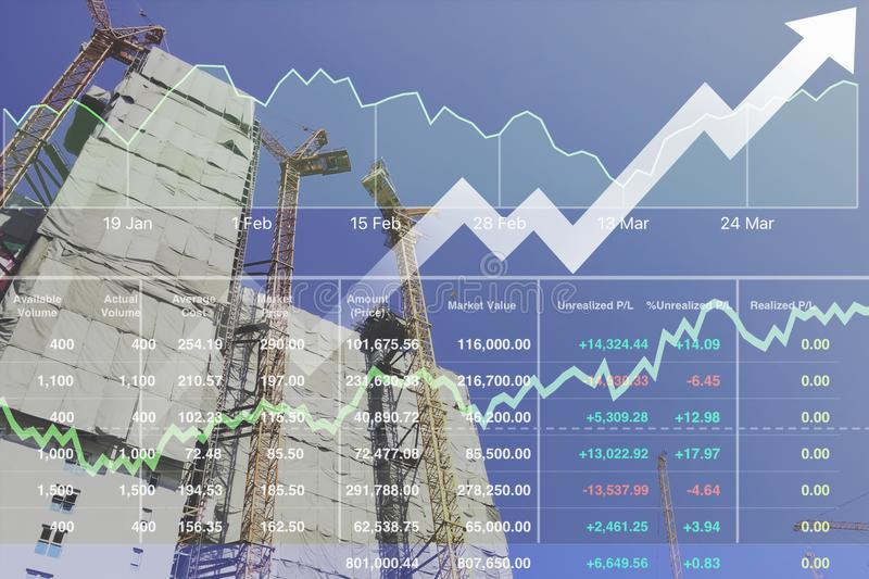 Stock financial research data for real estate construction. stock images