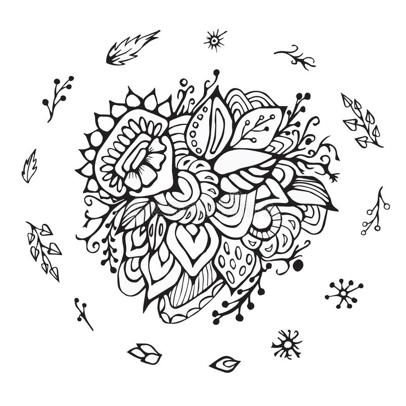 Stock flower, doodle pattern. abstract art background. Ilustration royalty free illustration