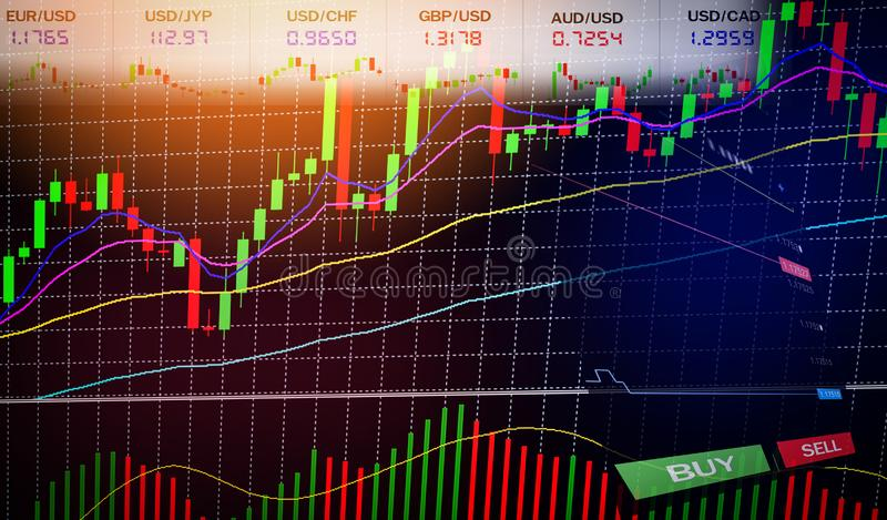 Stock Forex trading - Business graph charts of financial / forex charts graph board data information. Display stock background BUY and SELL options on screen vector illustration