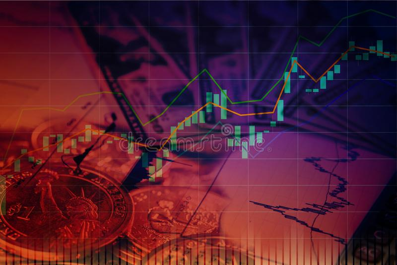 Stock or forex trading with candlestick chart in graphic design. For financial investment concept stock image