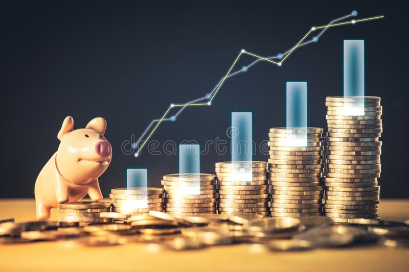 Stock funding or money saving graph and piggy bank on coins. Background for business ideas and design. Chart for financial investm stock image
