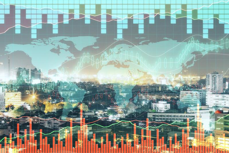 Stock, global business and market concept. Creative forex chart and map on city background. Double exposure stock photos