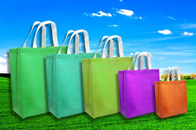 Stock Go Green with our Eco friendly bags, Non Woven Bags royalty free stock photo