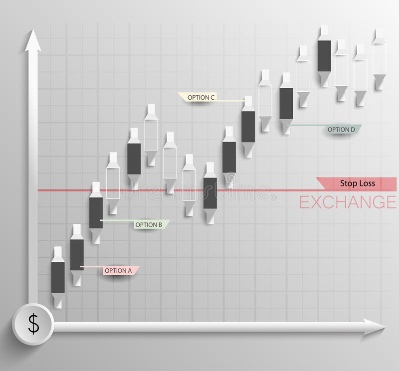 Stock graph with candlesticks royalty free illustration
