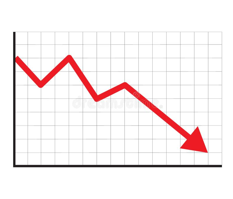 Stock icon on white background. flat style. financial market crash icon for your web site design, logo, app, UI. graph chart. Downtrend symbol. chart going down stock illustration