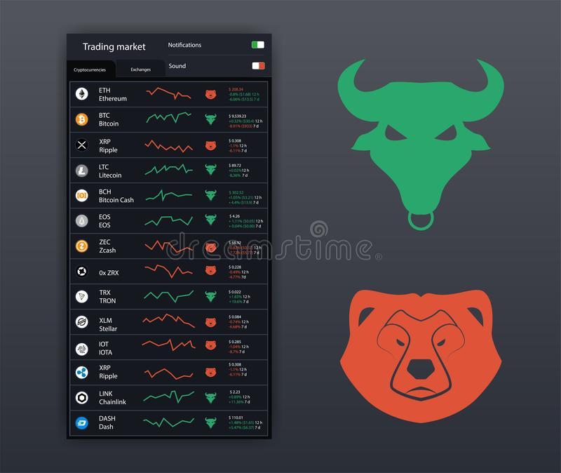 Stock icons of Bull and Bear. Symbol of lowering and raising the market. UI, UX, KIT App icons bank, trade platforms, analytical. Cryptocurrency market app stock illustration