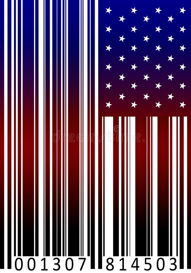 Stock Illustration American flag as barcode. Close up royalty free illustration