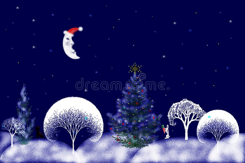 Stock Illustration of Christmas Night royalty free stock photos