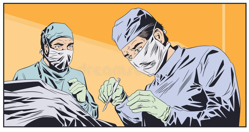 Doctors in surgical masks. Operating room. Stock illustration. Stock illustration. Doctors in surgical masks. Operating room stock illustration
