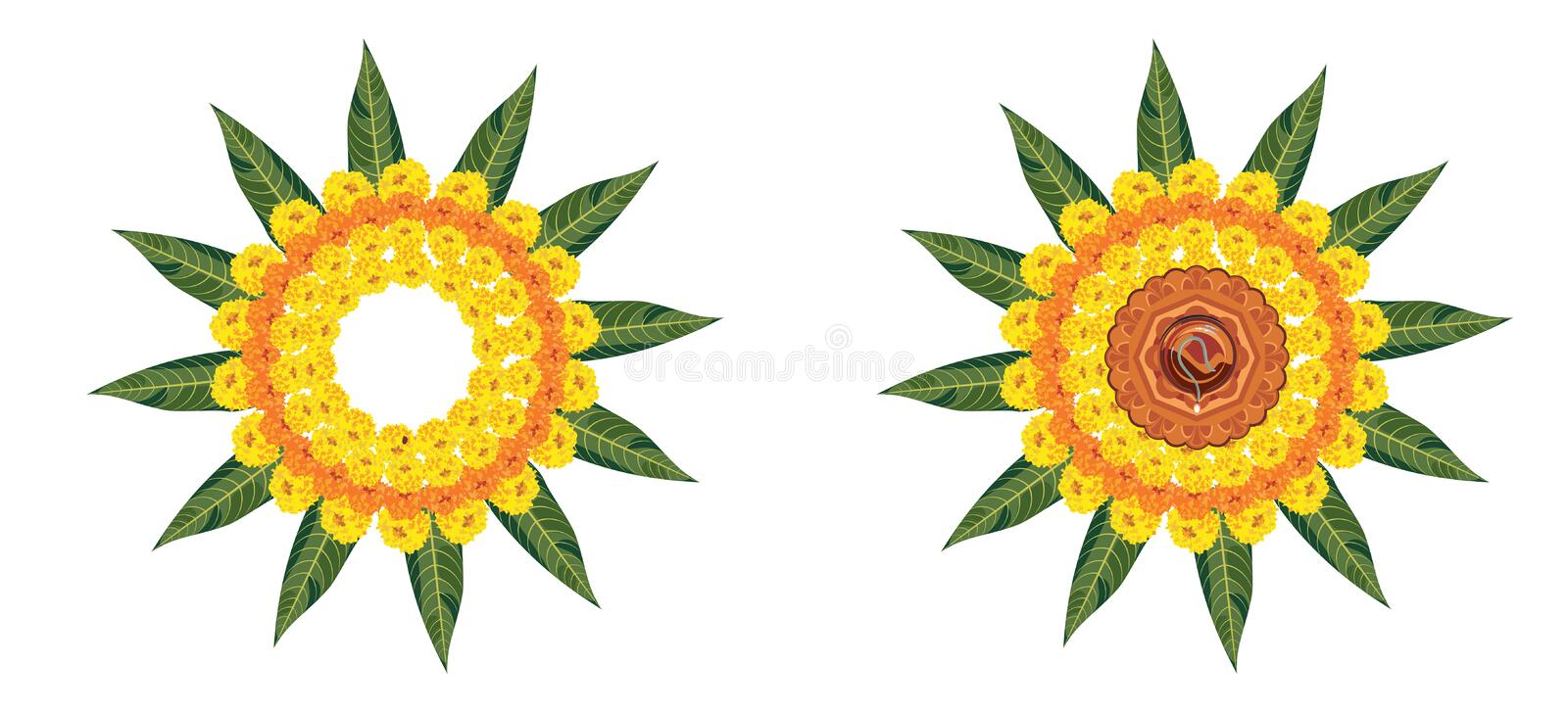 Stock Illustration of flower rangoli for Diwali or pongal or onam made using marigold or zendu flowers and red rose petals over wh royalty free stock image