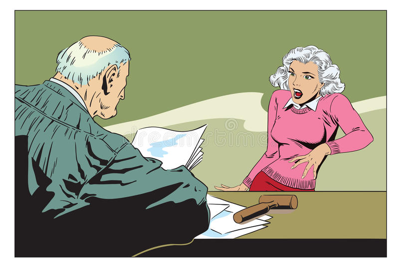 Stock illustration. Judge in courtroom. Stock illustration. People in retro style pop art and vintage advertising. Judge in courtroom. Frightened woman royalty free illustration