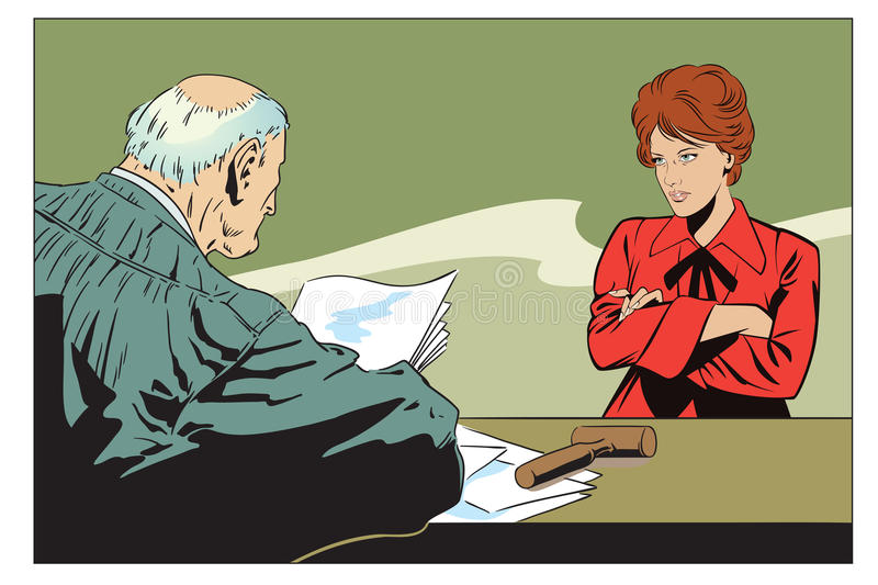 Stock illustration. Judge in courtroom. Stock illustration. People in retro style pop art and vintage advertising. Judge in courtroom. An indifferent woman vector illustration