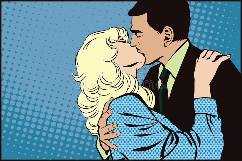 Stock illustration. People in retro style pop art and vintage advertising. Kissing couple.  stock illustration