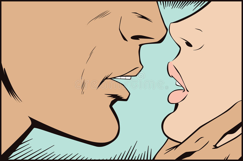Stock illustration. People in retro style pop art and vintage advertising. Kissing couple.  vector illustration