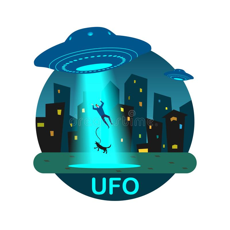 Stock illustration UFO abducts man stock illustration