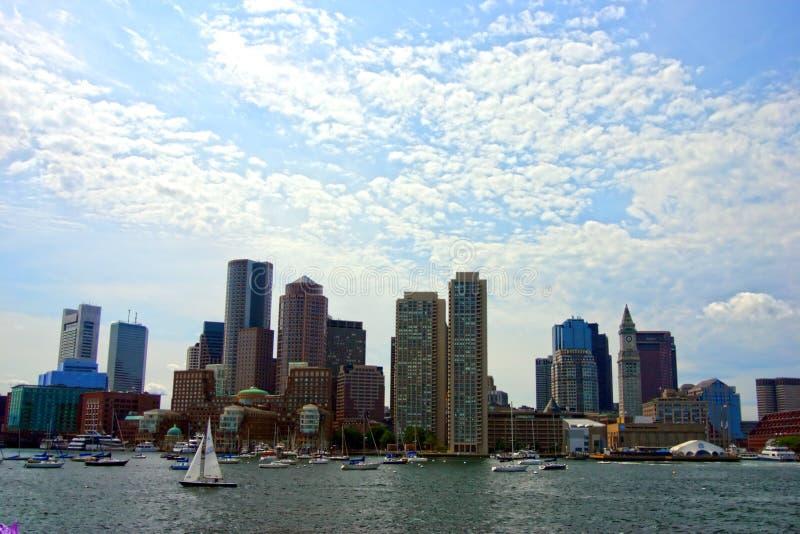 Stock image of Boston skyline, Inner Harbor, USA royalty free stock image