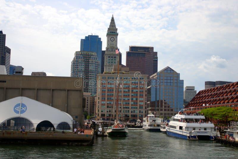 Stock image of Boston skyline, Inner Harbor, USA royalty free stock photo
