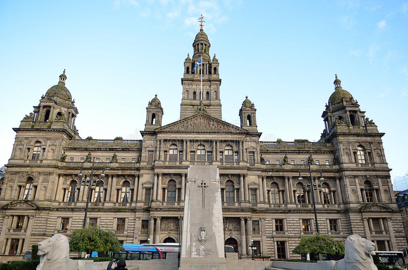 Stock image of City Chambers in George Square, Glasgow, Scotland.  royalty free stock image