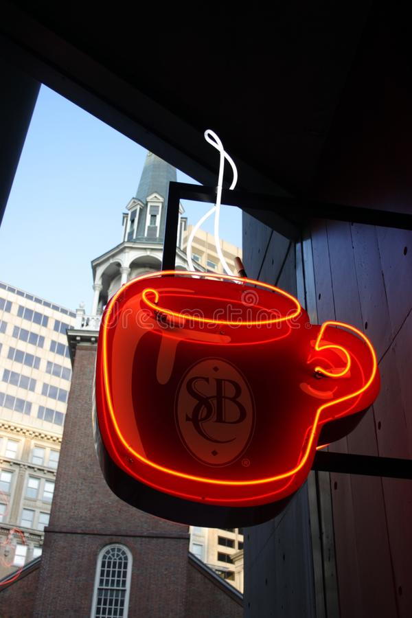 Download Stock Image Of Coffee Shop Sign Editorial Stock Photo - Illustration of restaurant, light: 84927183