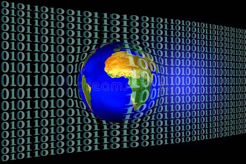 Stock Image of Earth in Binary Code Net