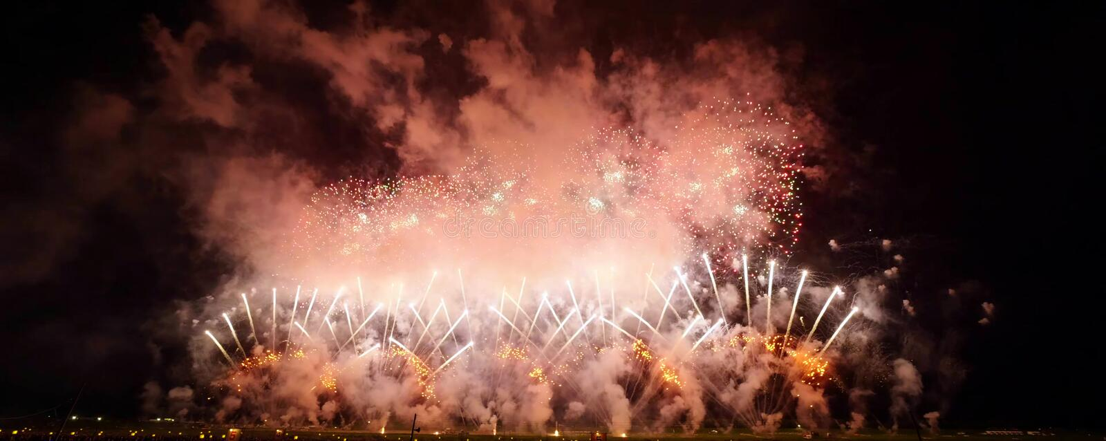Japanese Superb view fireworks royalty free stock photo