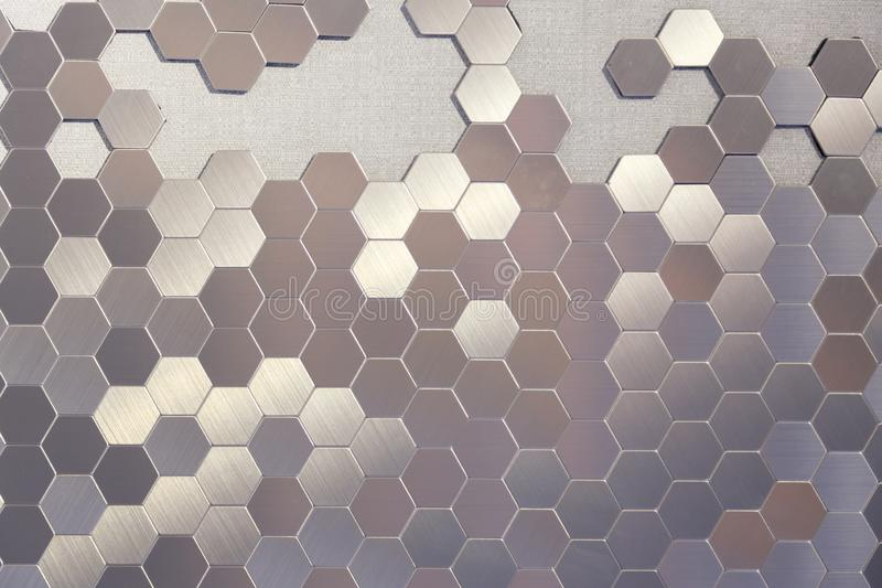 Stock image of metal honeycomb, hexagon, abstract metal background stock image
