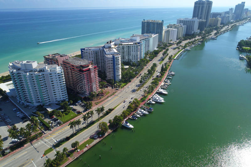 Stock image of Miami Beach and Indian Creek royalty free stock photography